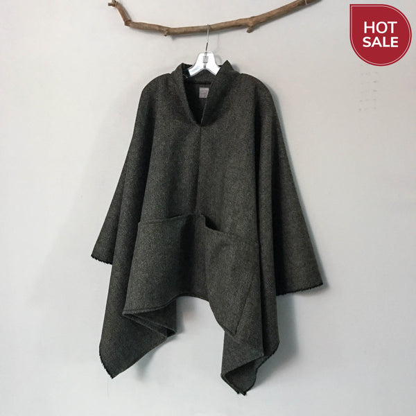 ready to wear brown green herringbone wool swallow poncho with big pockets limited edition - linen clothing by anny