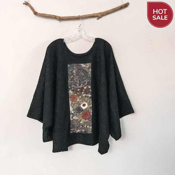 oversized wrinkled black wool top with vintage kimono panel ready to wear - linen clothing by anny