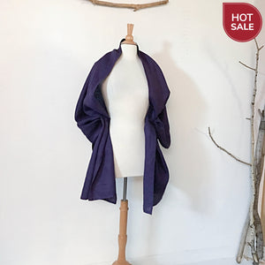 purple linen shawl ready to wear - linen clothing by anny