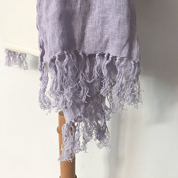 lilac purple washed linen shawl with hand knotted fringes