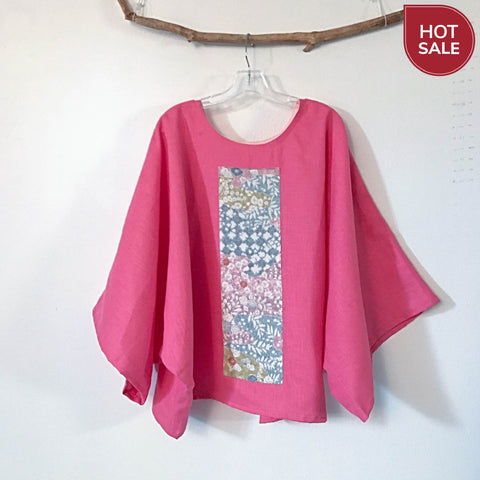 over size pink linen kimono motif top ready to wear - linen clothing by anny
