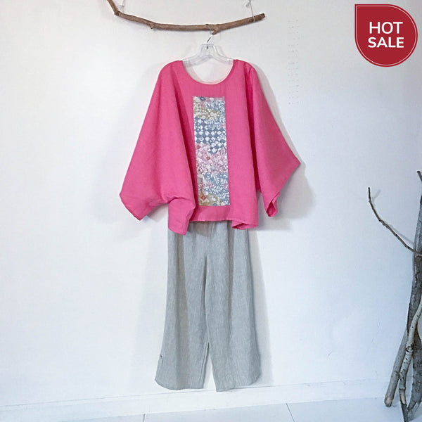 over size pink linen kimono motif top ready to wear