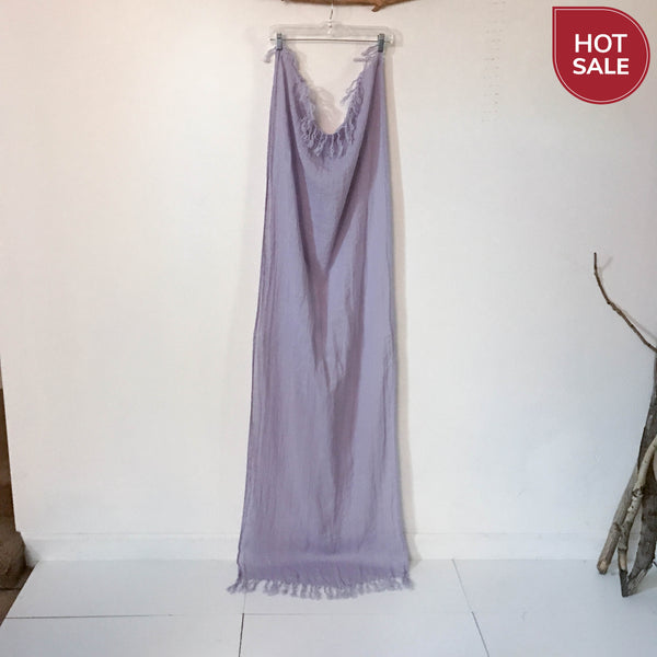 lilac soft washed linen shawl scarf with hand knotted fringes ready to wear - linen clothing by anny