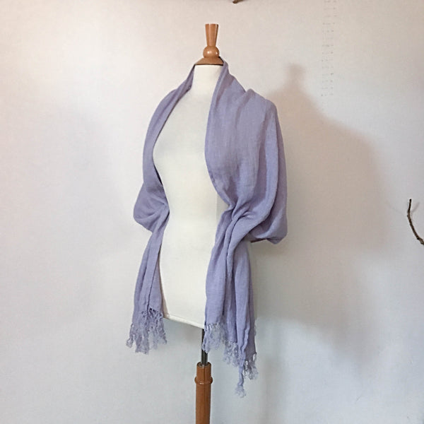 Custom soft washed linen shawl scarf with hand knotted fringes