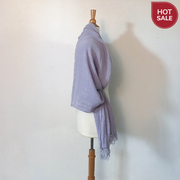 lilac soft washed linen shawl scarf with hand knotted fringes ready to wear