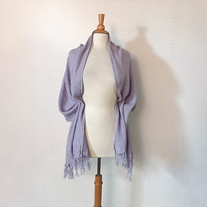 Custom soft washed linen shawl scarf with hand knotted fringes - linen clothing by anny