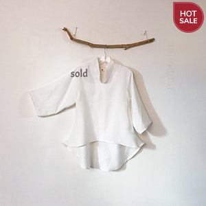 Sold / ready to wear chipao collar white heavy linen blouse - linen clothing by anny
