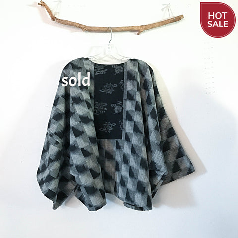 Sold / cotton kimono jacket with black wool kimono motif ready to wear - linen clothing by anny