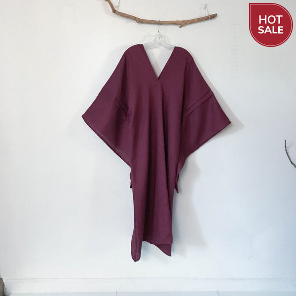 flying swallow red wine linen dress ready to wear - linen clothing by anny