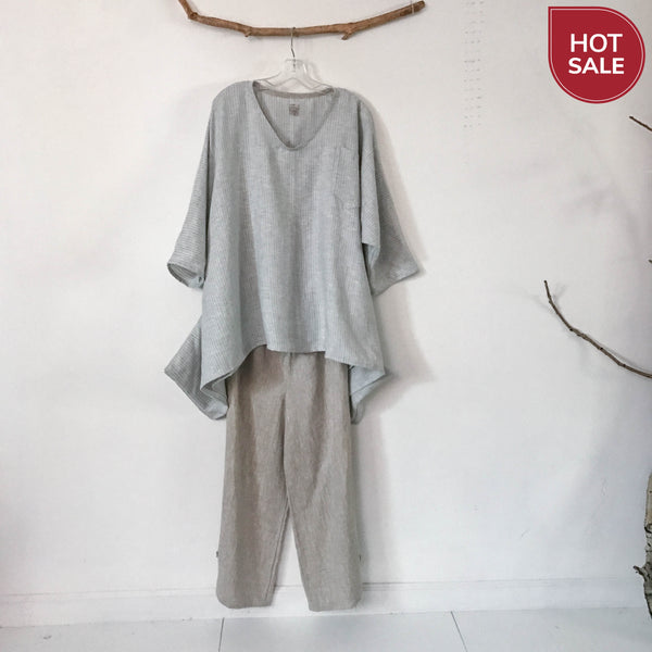 sold / ready wear oversized lagenlook pinstripe soft linen top - linen clothing by anny