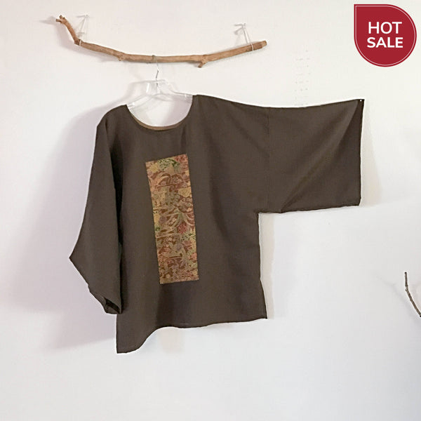 brown linen kimono top ready to wear - linen clothing by anny