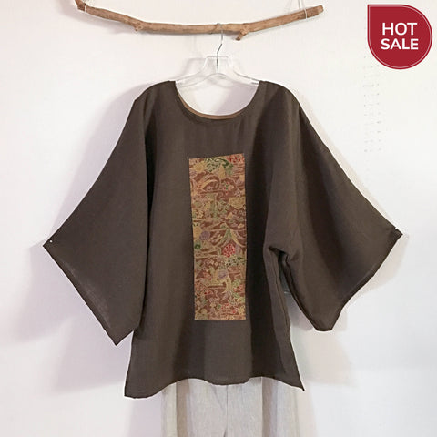 Brown linen kimono top with gorgeous kimono silk panel ready to wear