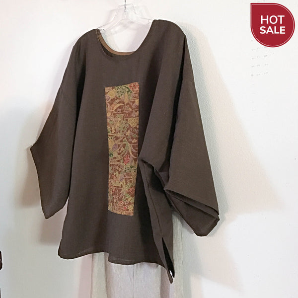 brown linen kimono top - linen clothing by anny