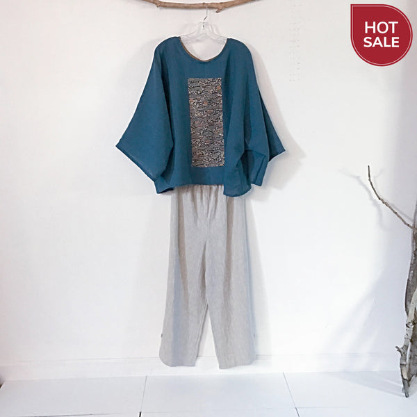 over size bonnot linen kimono motif top ready to wear