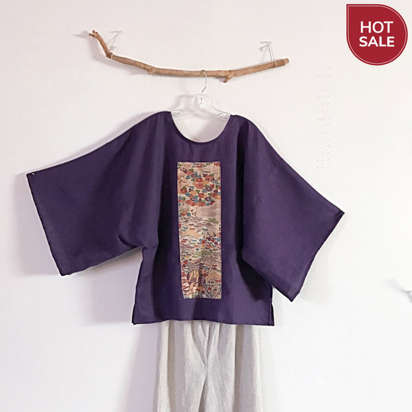 purple linen kimono art top ready to wear - linen clothing by anny