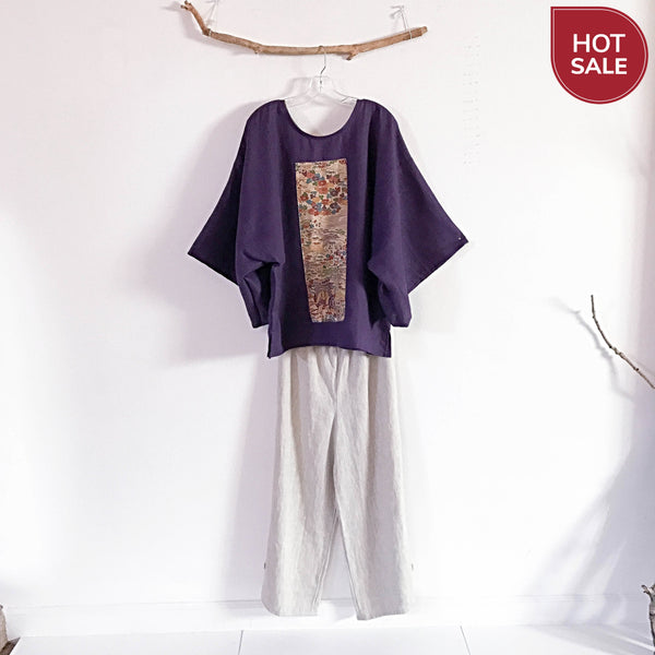 slow fashion purple linen kimono motif top  - linen clothing by anny