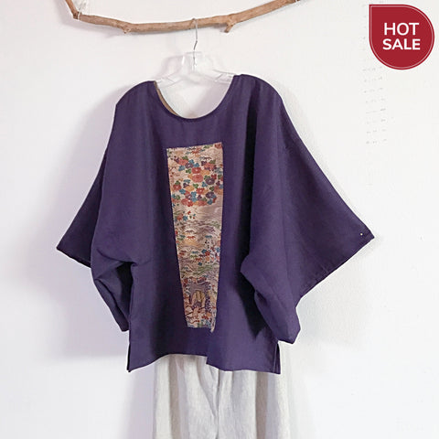 purple linen kimono motif top ready to wear - linen clothing by anny