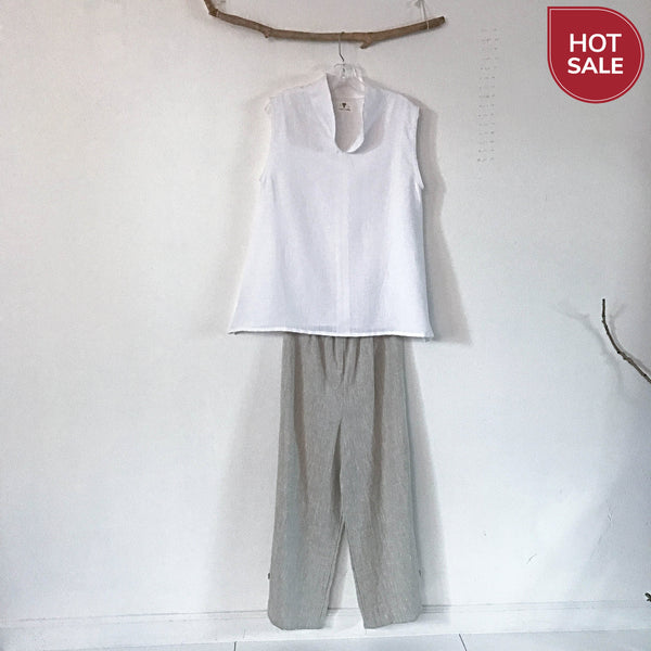 size M white linen sleeveless top ready to wear - linen clothing by anny
