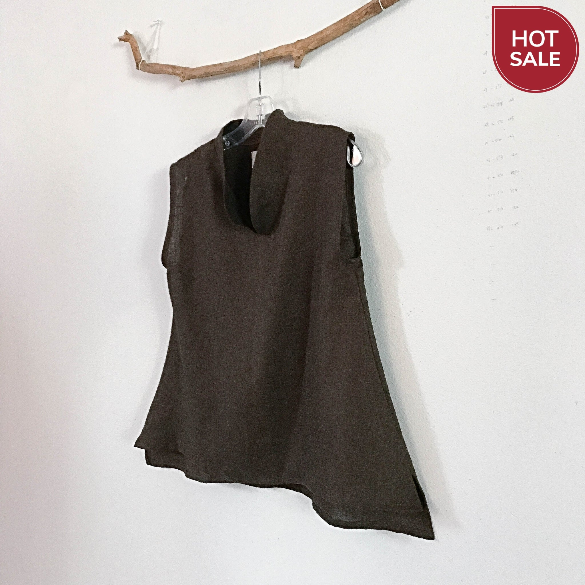Sold / brown linen size S / M sleeveles top - linen clothing by anny