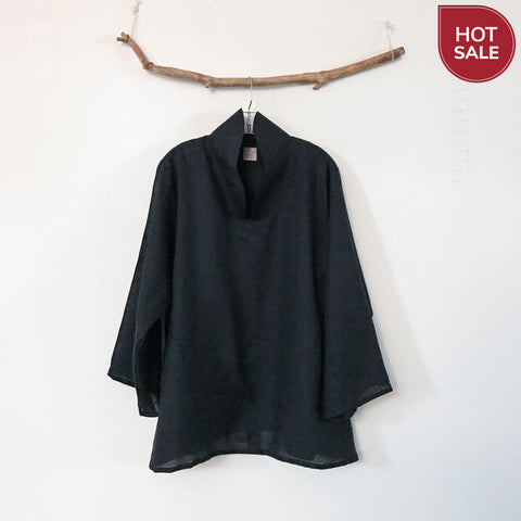 ready to wear cloud shape high collar black light weight linen blouse size XXL - linen clothing by anny