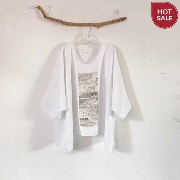 Collectable oversized white heavy linen top with vintage kimono panel ready to wear - linen clothing by anny