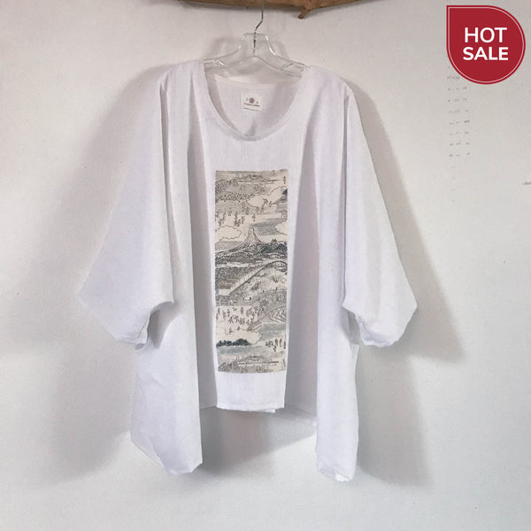 Collectable oversized white heavy linen top with vintage kimono panel ready to wear