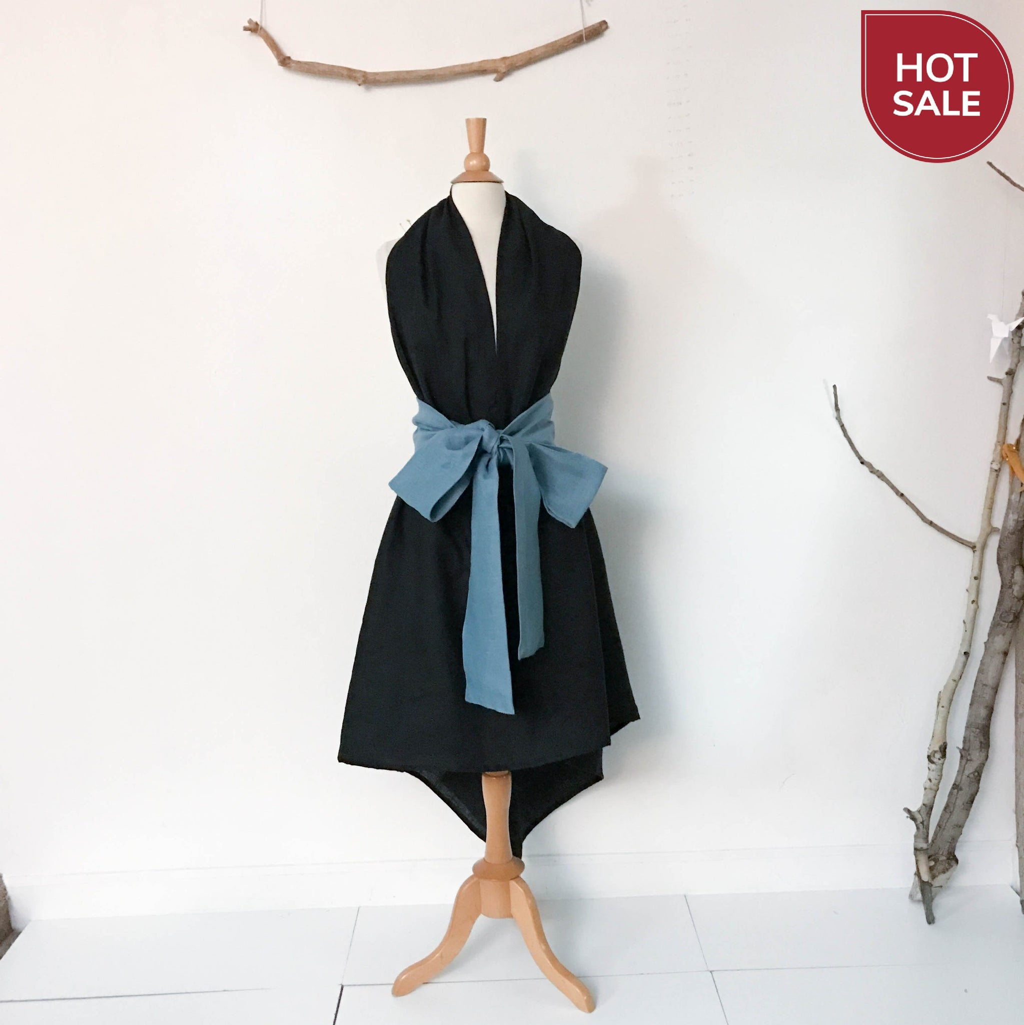 black linen low cut halter dress with sky blue obi sashes ready to wear - linen clothing by anny