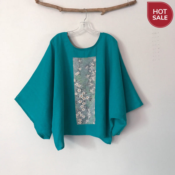 oversized turquoise linen top with vintage kimono panel ready to wear - linen clothing by anny