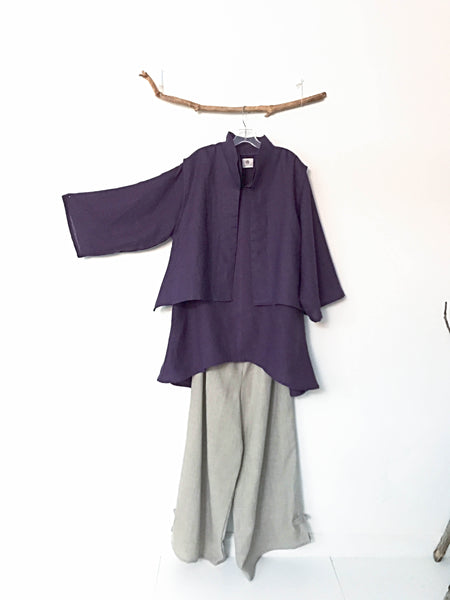 custom lagenlook linen short vest long blouse and pants made in USA