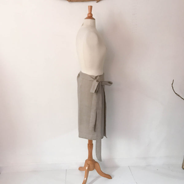 linen simple wrap knee length skirt made to order - linen clothing by anny