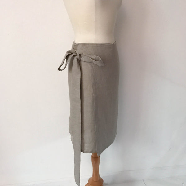 linen simple wrap knee length skirt made to order
