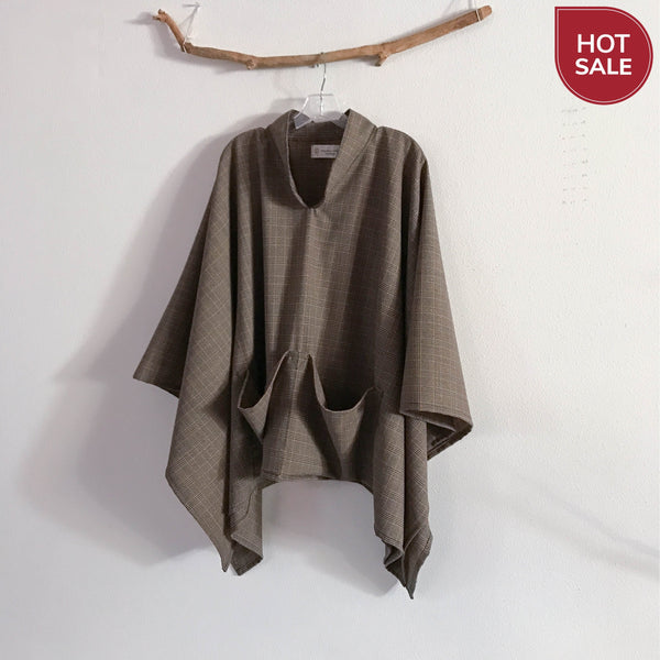 ready to wear light weight wool swallow poncho with big pockets