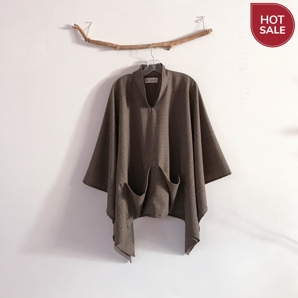 ready to wear light weight plaid wool swallow poncho with big pockets - linen clothing by anny
