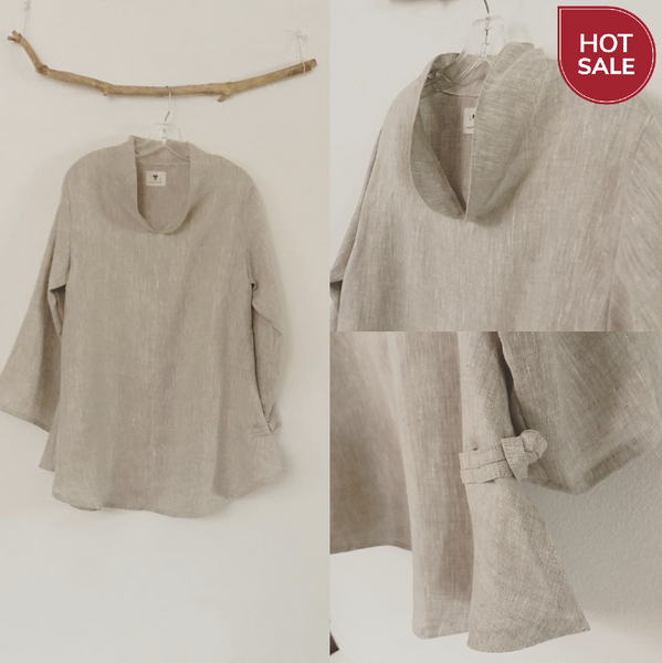 Mix linen frog toggle Asian blouse ready to wear - linen clothing by anny