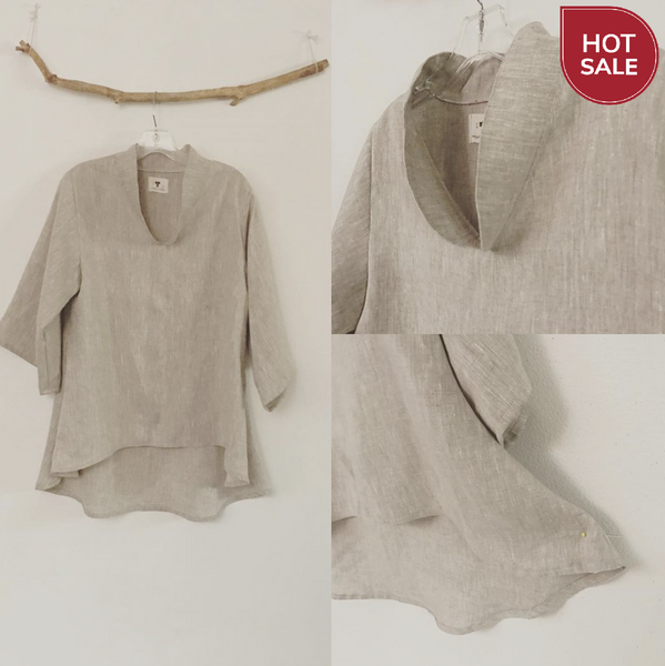 Mix linen wavy end blouse ready to wear