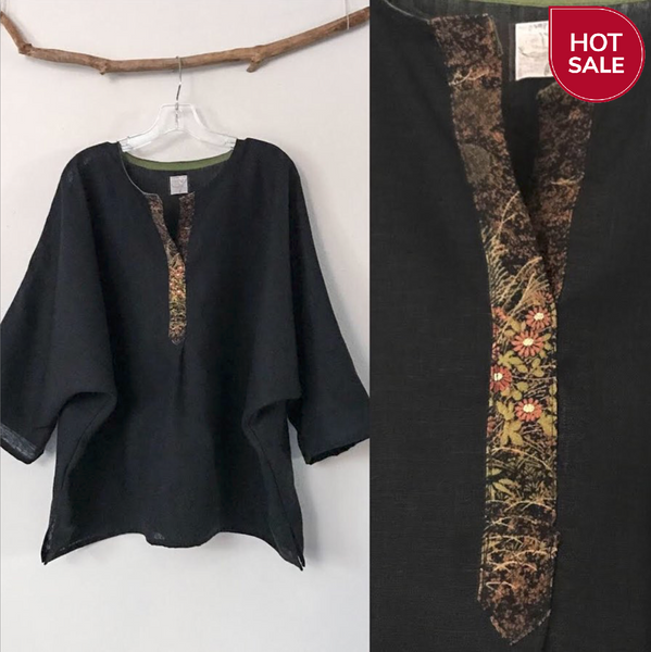 oversized black linen top with kimono motif front placket trim ready to wear