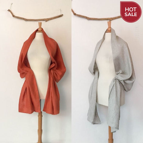 Sold / ready to wear handmade linen shawl orange linen