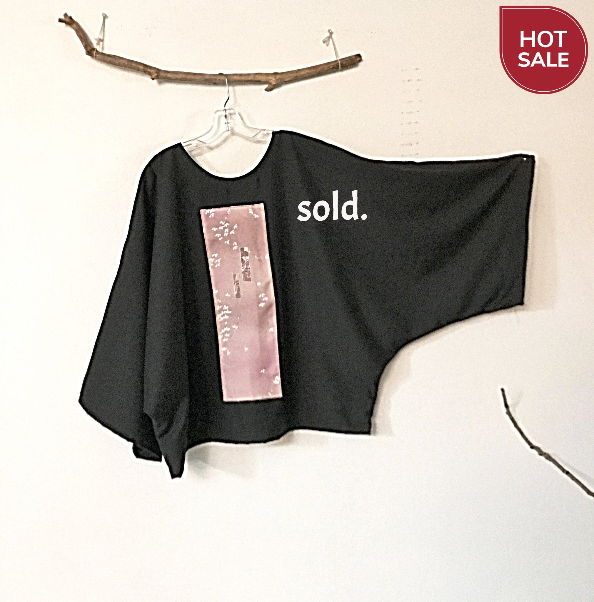 Sold / Oversized black dobbie wool top with pink floral kimono silk panel - ready to wear - linen clothing by anny