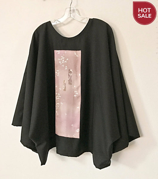 Oversized black dobbie wool top with pink floral kimono silk panel - ready to wear