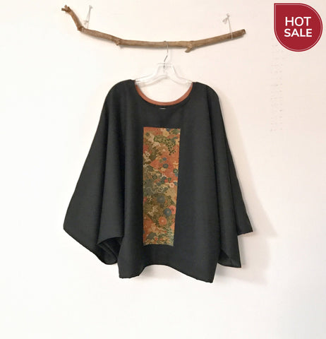 Oversized black dobbie wool top with autumn floral kimono silk panel - ready to wear ( sold) / custom order available - linen clothing by anny