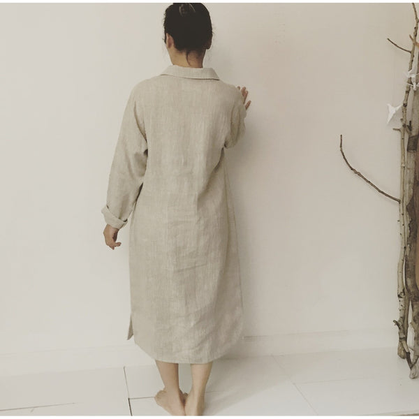 custom linen shirt collar dress - linen clothing by anny