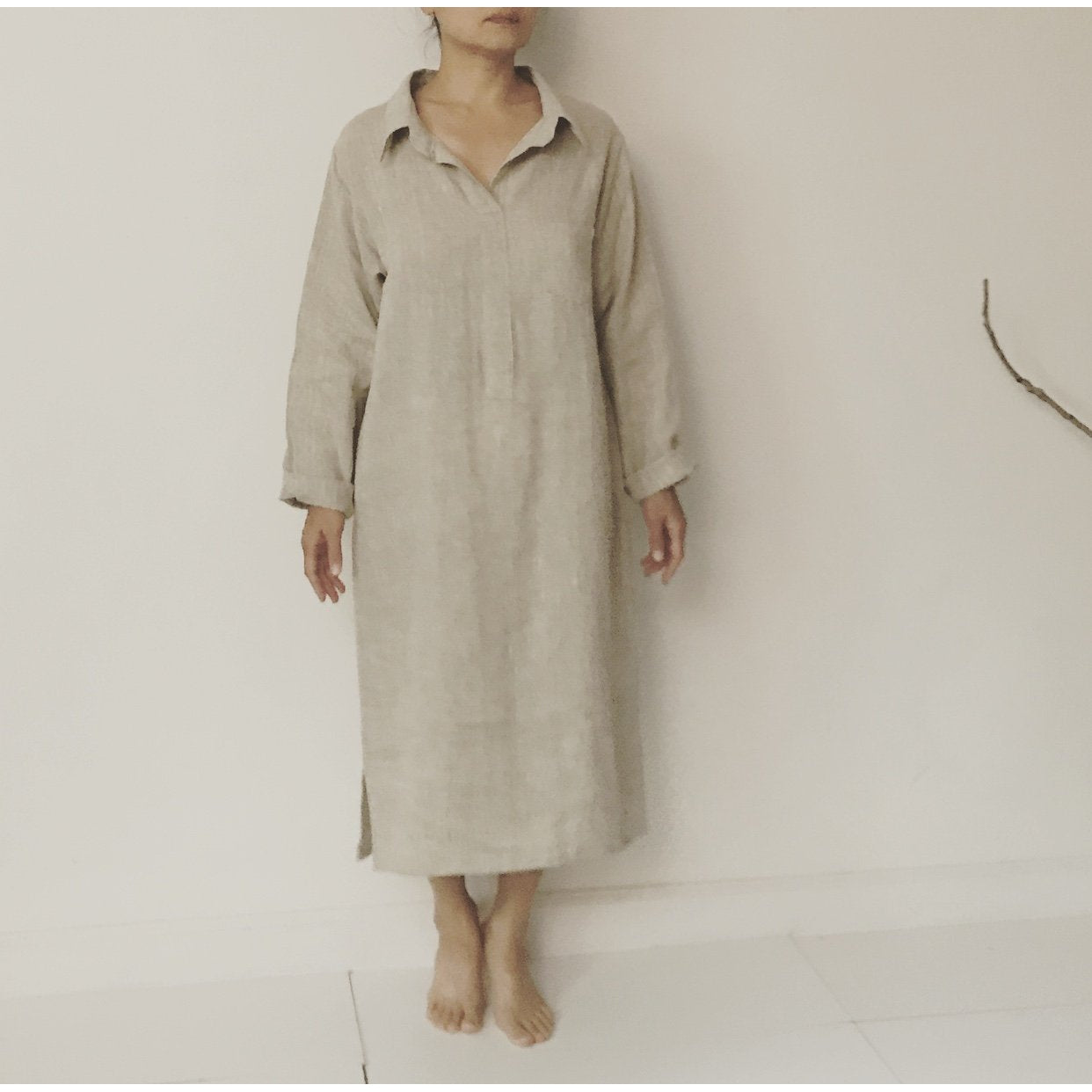 custom linen shirt collar dress