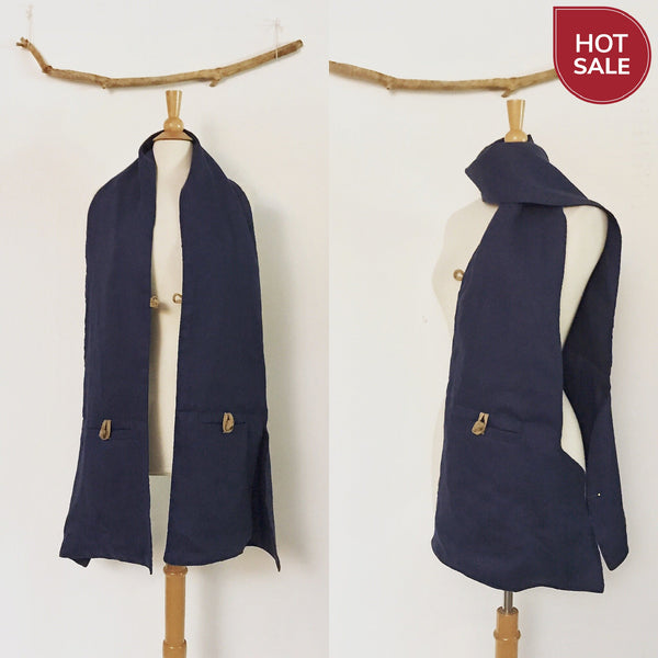 navy blue linen pouch scarf with ginger toggles ready to wear