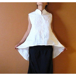 custom white linen sleeveless simplicity wavy top-top-linen clothing by anny