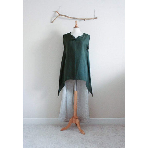 Reserved for L only custom swallow side splits top with sleeves added - linen clothing by anny