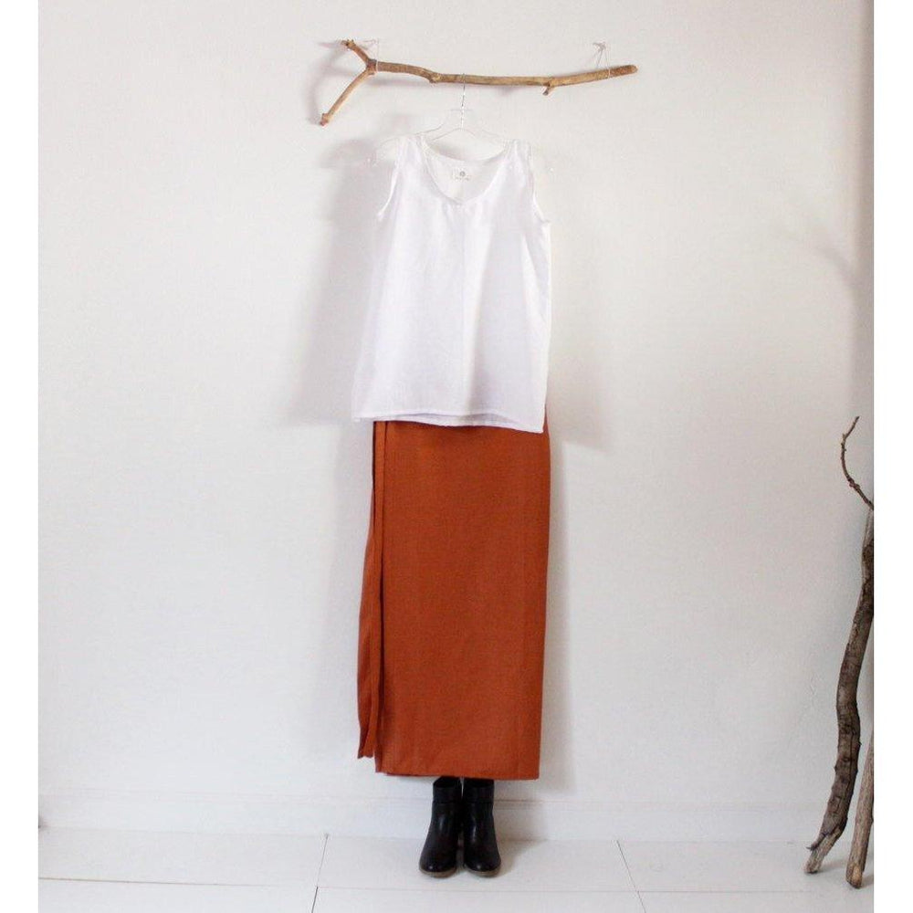 linen outfit white tank top and rust wrap skirt-linen outfit-linen clothing by anny