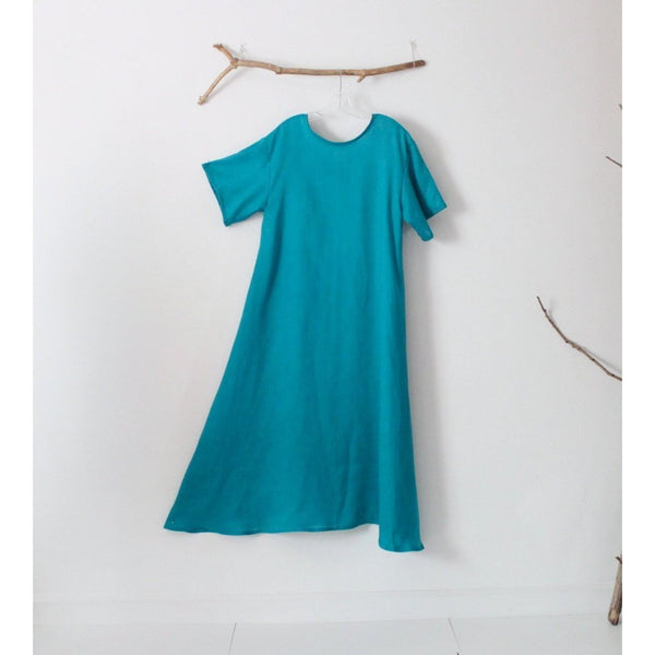 custom light weight linen A line dress  short sleeves - linen clothing by anny