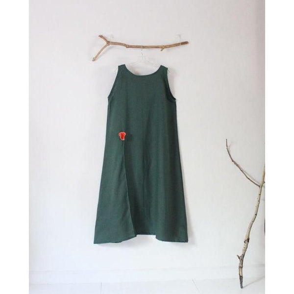 custom slim shoulder linen dress with poppy flower-linen clothing by anny