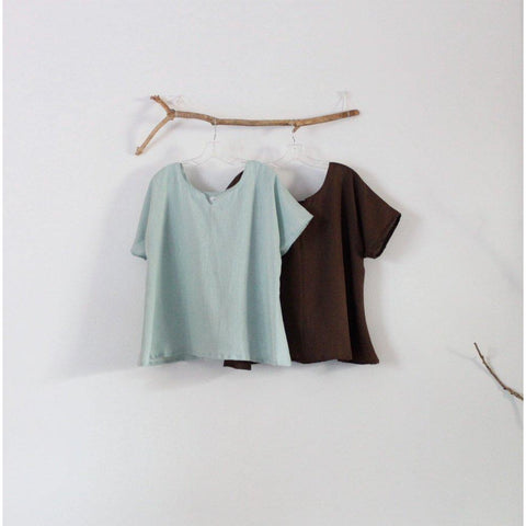 summer weight arty neckline linen mint and chocolate two tops - linen clothing by anny