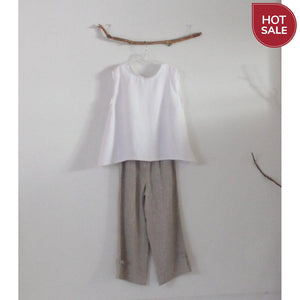 ready to wear size L simple wavy white linen top-top-linen clothing by anny